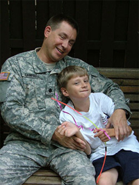 Military man and child